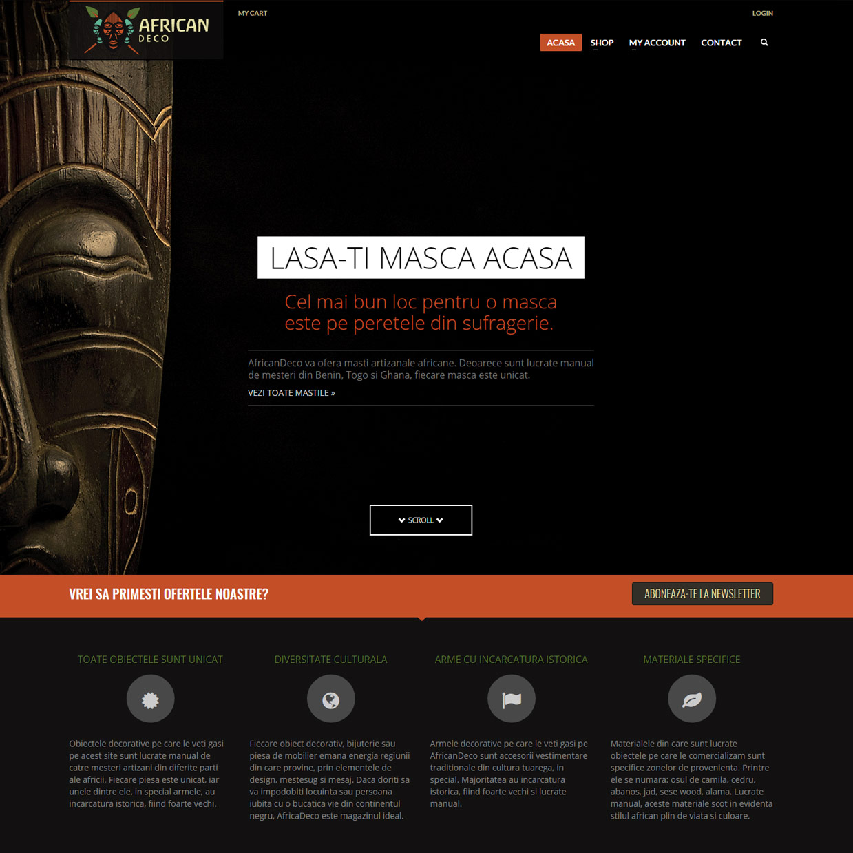 WooCommerce Wordpress online shop selling handcrafted african jewelry and decoration
